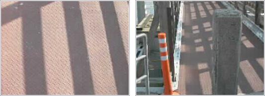 赤川鉄橋縞鋼版滑り止め塗装